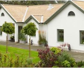 Trähus med putsad fasad