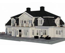 Huspartner - Nostalgi I – är ett 1 ½-plans hus, utfört med valmat mansardtak.